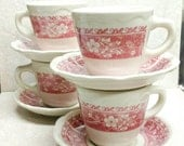 Syracuse China Cup and Saucer Strawberry Hill Restaurant Ware Pink and Ivory Set of 4 Coffee Tea