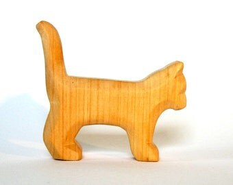 Wood Toy, Farm Animal, Wood Art, Cat Animal, Carved, Waldorf, Talisman, Little Cat, Hand Carved Toy, Made of Wood, Wooden Toy