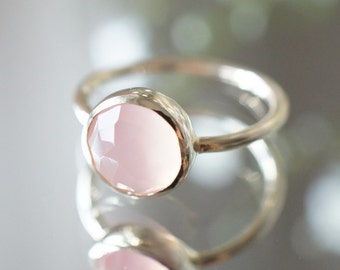 10K Solid Yellow Gold Pink chalcedony bezel setting ring- FREE Shipping- made to order- 3 weeks- modern minimalist jewelry
