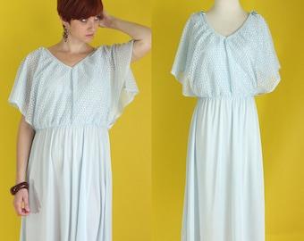Vintage 70s Flutter Sleeve Dress - Light Blue Sheer Deep V Boho Summer Dress - Crochet Butterfly Sleeve Midi Bridesmaid Dress - Size Large