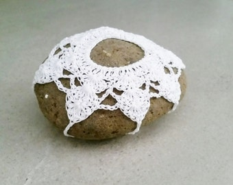 Crochet Stone - Covered Lace Stone - Table Decoration Home Decor