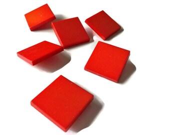 Vintage Scarlet Red Square Design Buttons
