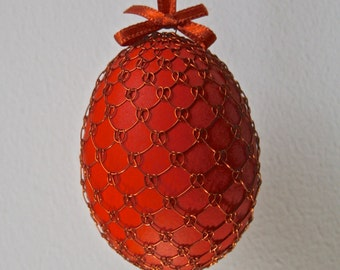 Handmade Copper Wire Wrapped Easter Eggs - Pysanky - Red