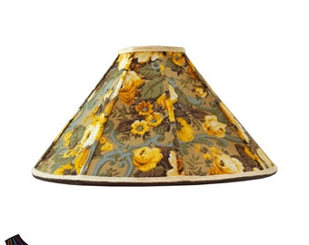 large lamp shades golden lamp shade with floral fabric yellow lamp shades floral - Large Lamp Shades