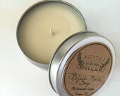 BLACK MYRRH + SAGE //  Soy Candle // 4oz.Tin- Mini travel size candle