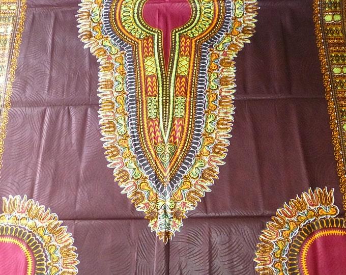 2 YARDS Brown Dashiki /Makenzi/Java African Wax Prints /Fabrics For Dressmaking/ Sewing/Cotton Fabrics/Kitenge/Tissues Africain
