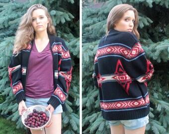 90s Navajo PENDLETON SWEATER Vintage Portland Wool Knit Zip-Up Cardigan Jacket Topper SOUTHWEST American Classics boho boyfriend Sweater S/M