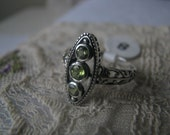 Vintage Sterling Silver Peridot Edwardian Gothic Style Filigree Ring