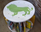 ON SALE Baby Room Jungle Theme Decor, Mobile Book Rack, Round Bookshelf, Kids Book Cart, Bookcase