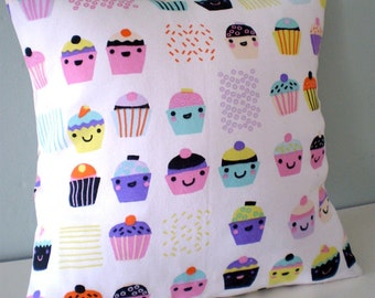 Kawaii Cakes Upcycled Teatowel Cushion / Pillow cover - pastel goth