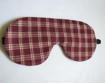 Plaid Sleep mask, Burgundy Sleep Mask, Adjustable Sleep Mask, Sleeping eye mask