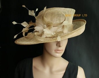 Beige sinamay hat wedding hat with feather flower,for Kentucky derby,wedding party races church.
