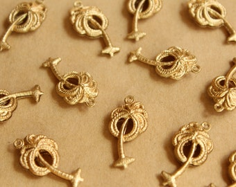 3 pc. Raw Brass Double Sided Palm Tree Charms: 25mm by 13mm - made in USA | RB-812