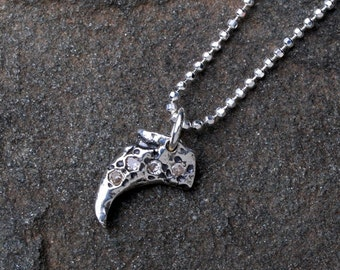 Silver Claw And Cubic Zirconia Pendant Necklace- Claw Jewelry- Ocean Jewelry- Sea Jewelry- Cubic Zirconia Necklace- Tribal Claw Necklace