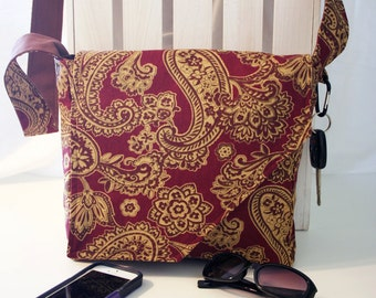 Maroon and Gold Paisley Pattern Messenger Style Canvas Purse