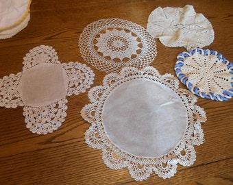 Lot of 5 Ecru Hand Crocheted Doilies