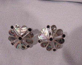 Fabulous Pair of Earrings From Mexico Abalone Silver Tone Alpaca