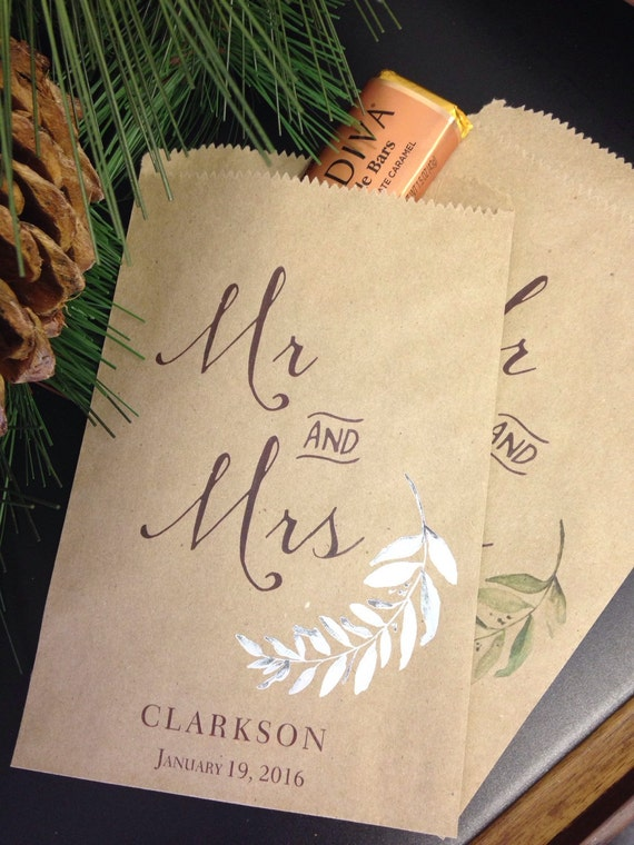 Wedding Favor Bags, Elegant Olive Branch Candy Buffet Sacks, Custom Wedding Favors, 25 Cake Bags, Paper Personalized Printed Sack