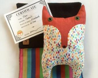 Sewing Pattern – Fleur the sleepy fox in a sleeping bag with birth certificate