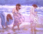 Girls at the seashore card 5x7, figures, pink, lavender, blue, women, girlfriends, friends, shore, collecting shells, walking beach, blank