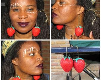 Vintage Strawberry Earrings, Red Strawberries