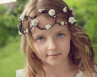 IVORY Boho Flower Crown - 10yrs to adult (weddings / bridesmaids / flowergirls)