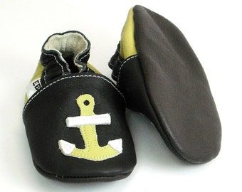 soft sole baby shoes infant handmade boy moccasins gift olive anchor black 6 12 garcon cuir souple chaussons Krabbelschuhe ebooba AN-5-B-T-2