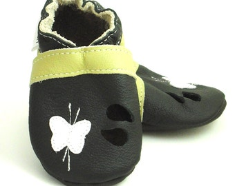 soft sole baby shoes infant kids children sandals white butterfly black 0 6 ebooba SN-27-B-T-1