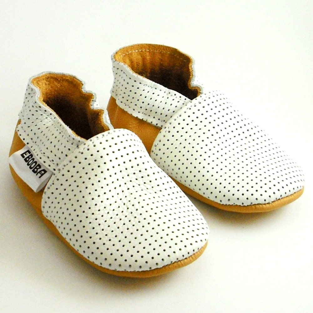 soft sole leather baby shoes infant handmade white yellow 0 6