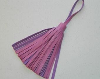 Pink Leather Tassel with Loop Purse Tassel Bag Fringe Luggage Fringe Purse Decor Leather Lovers Women's Gift