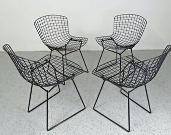 set 4 early authentic mid century modern Knoll Harry Bertoia black wire chairs