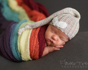 Newborn Hat, Rainbow Baby Hat, Upcycled Newborn Hat, Rainbow Newborn Prop, Newborn Hats, Newborn Knot Hat, Newborn Props, Stocking Cap RTS