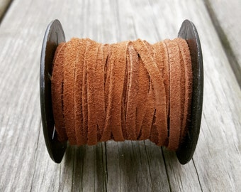 Genuine Suede Lace - Real Suede Cord 3.0mm Brown - 10 or 50 Meter Spools