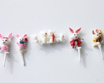 Vintage Plastic Easter Bunny Cup Cake Toppers, Cute Cup Cake Picks, Baking Party Supplies, Cake Decorating Lot of 5 Cake Toppers