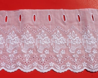 """Vintage Embroidered White Lace Cafe Curtain Fabric by the Yard, Flower Basket Romantic, French Bistro Rayon 8.75"""" Wide BTY yardage"""