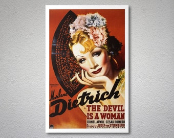Marlene Dietrich, The Devil is a Woman Vintage Movie Poster  - Poster Paper, Sticker or Canvas Print