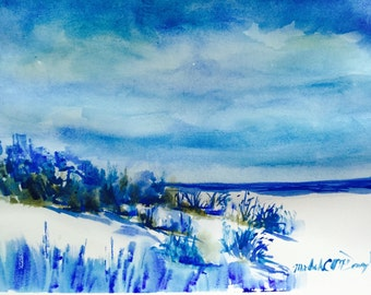 Feeling Blues~ hand painted original watercolor seascape