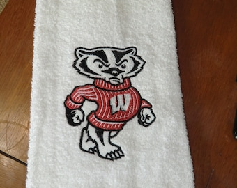 Embroidered Hand Towel - Bucky Badger
