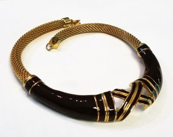 LANVIN Brown Enamel and Gold Choker Necklace