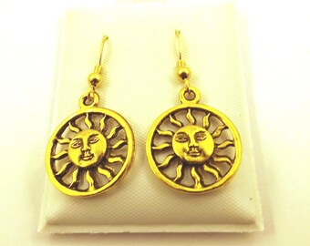 Gold Tone Pewter Encircled Sun Dangle Earrings on Gold Filled Ear Wires-5392