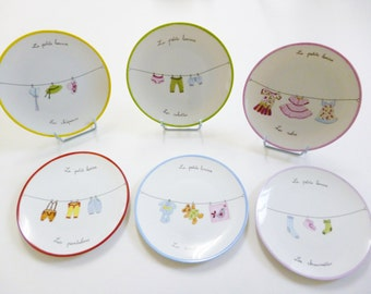 "Set of 6 kids plates ""small laundry"""
