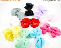 "Fall Sale 15% OFF Grab A Bag - 4"" Large Chiffon Bows - No Clip Attach - Random Colors  Only -  Large Chiffon Bows - Hair Accessories Supplie"
