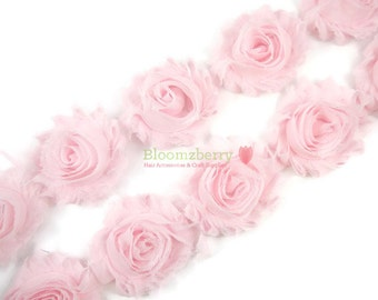 """2.5"""" Shabby Rose Trim- Light Pink Color - Pink Chiffon Trim - Light Pink Shabby Rose Trim - Baby Pink Rosettes - Hair Accessories Supplies"""