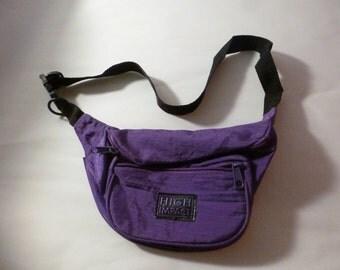 90s Purple High Impact waterproof Fanny Pack Waist Belt Hands Free