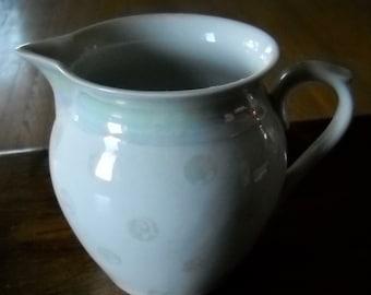 RKG Made In Cechoslovakia Polka Dot Milk/Carnival/Clown Glass Pitcher, 4C, EUC
