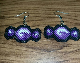 Purple Candy Cross Stitched Earrings