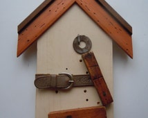 Found Object Birdhouse Key Holder, Assemblage Wall Hanging, Salvaged Wood & Metal Recycled Repurposed