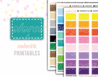 HALF BOX stickers stitched Printable Planner Stickers Erin Condren Happy Planner Inkwell Plum Paper Instant Digital Download