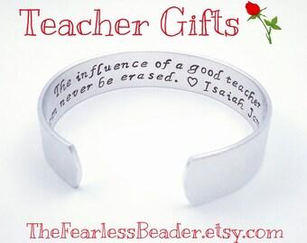 Teacher Bracelet, Gift for Teacher, Teacher Jewelry, Teacher Appreciation Gift, Handstamped Teacher Gift, Teacher Gifts, From Student