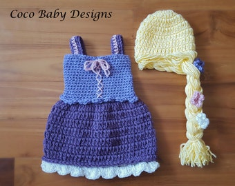 """Crochet """"Tangled"""" Inspired Rapunzel Dress with Matching Hair - Great Photography Pro["""